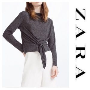 Gray tie front top by Zara. Size Large